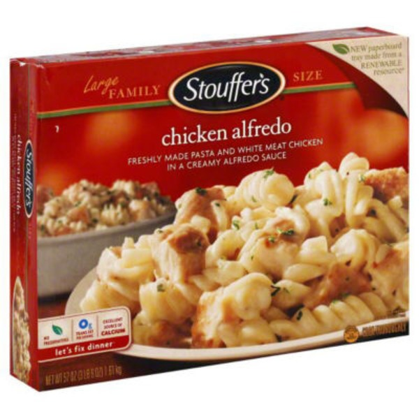 Stouffer's Large Family Size Tender white meat chicken & penne pasta in a creamy alfredo sauce Chicken Alfredo