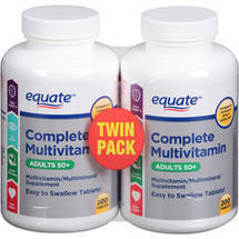 Equate Complete Multivitamin Adults 50+ Multivitamin/Multimineral Supplement (Pack of 2)