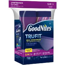 GoodNites Tru-Fit Bedwetting Underwear with Nighttime Protection Starter Pack for Girls S/M