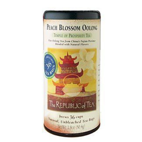 The Republic of Tea Peach Blossom Oolong Tea Natural Unbleached Tea Bags