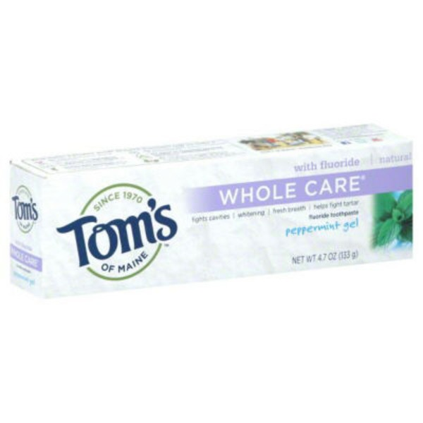 Toms of Maine Fluoride Whole Care Peppermint, Gel Toothpaste