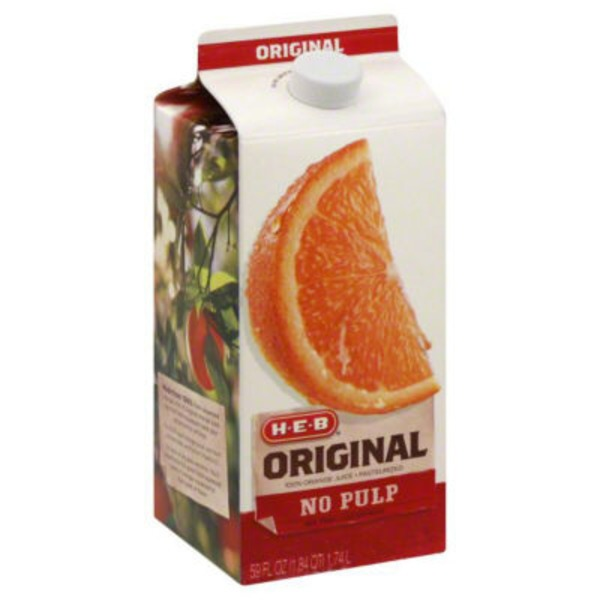 H-E-B Original 100% Orange Juice Pasteurized No Pulp Not From Concentrate