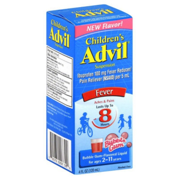 Advil Children's Bubble Gum Suspension Fever Reducer/Pain Reliever