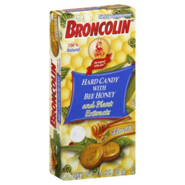 Broncolin Hard Candy, with Bee Honey and Plant Extracts, Honey