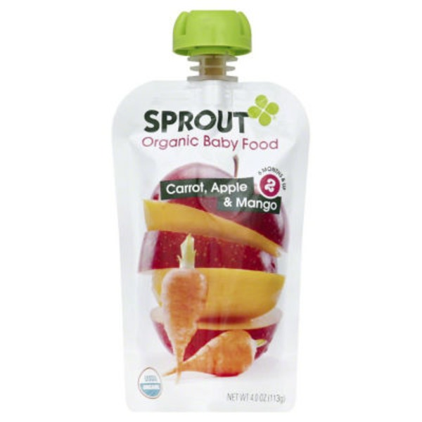 Sprout Organic Baby Food Carrot Apple & Mango, Stage 2 (6+ Months)