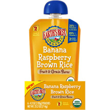 Earth's Best Organic Banana Raspberry Brown Rice Fruit & Grain Puree Stage 2 Baby Food