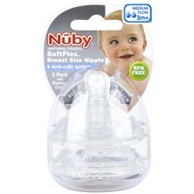 Nuby Natural Touch SoftFlex Breast Size Nipples Medium Flow