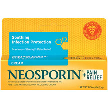 Neosporin Plus Pain Relief Antibiotic/Pain Relieving Cream Maximum Strength .5 oz