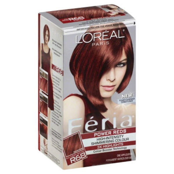 Feria High-Intensity Shimmering Colour Power Red R68 Rich Auburn True Red Hair Color