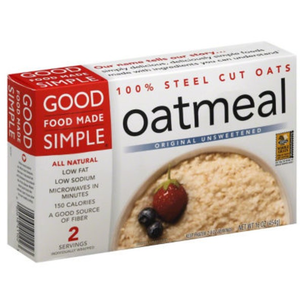 Good Food Made Simple Oatmeal Original Unsweetened All Natural - 2 CT