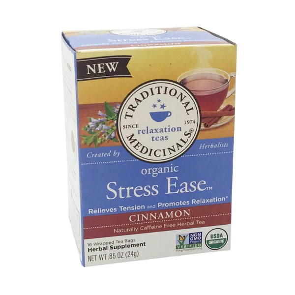 Traditional Medicinals Organic Stress Ease Tea Bags Cinnamon - 16 CT