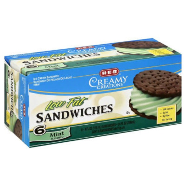 H-E-B Low Fat Mint Ice Cream Sandwiches