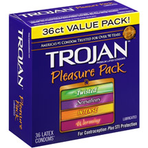 Trojan Pleasure Pack Lubricated Latex Condoms