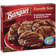 Banquet 6 Salisbury Steaks & Brown Gravy Entree