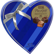 Hershey's Pot of Gold Premium Assorted Chocolates Valentine's Heart-Shaped Box Blue