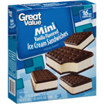Great Value 100 Calorie Minis Vanilla Flavored Ice Cream Sandwiches