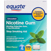 Equate Nicotine Polacrilex Gum 2Mg (Nicotine)/Stop Smoking Aid/Mint Nicotine Gum -