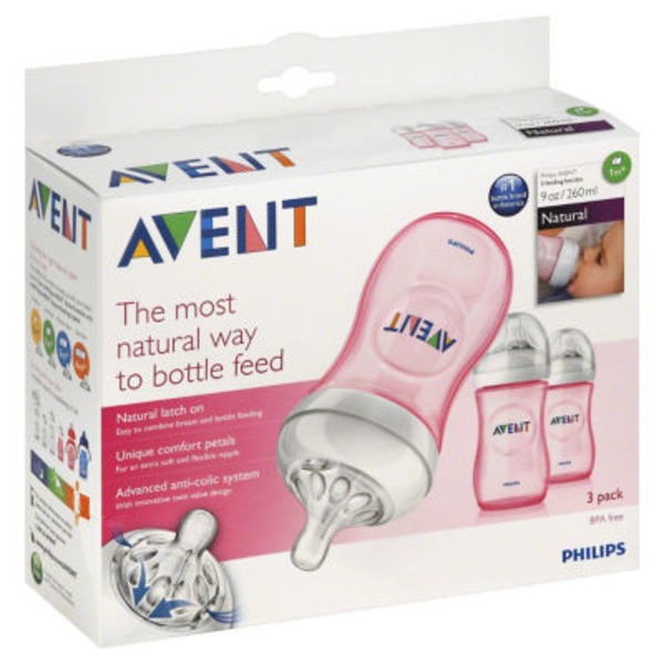 Avent Feeding Bottles 1m + Natural - 3 CT