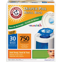 Munchkin Arm & Hammer Diaper Pail Bag Refills Set of 30