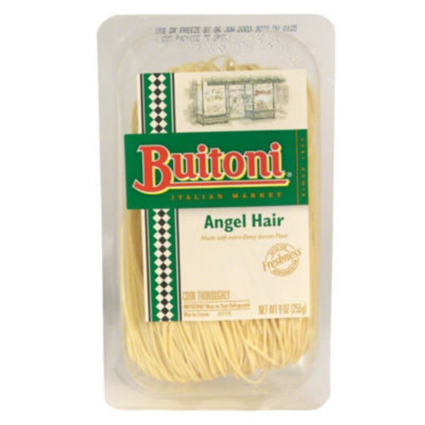 Buitoni Freshly Made with Durum Flour and Eggs. The Thinnest of the Flat Pastas. Angel Hair Pasta