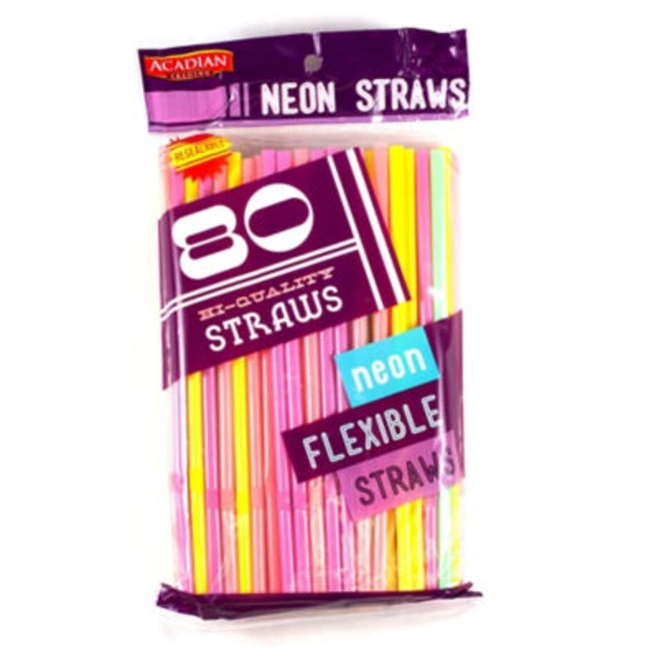 Acadian Trading Hi Quality Neon Flexible Drinking Straws