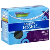 Tampax Pearl Tampax Pearl Plastic Ultra Absorbency, Unscented Tampons 36 Count  Feminine Care