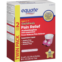 Equate Children's Bubble Gum Flavor Oral Suspension Acetaminophen Fever Reducer/Pain Reliever