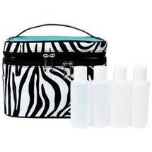 Modella Zebra Fitted Train Case Bag Set