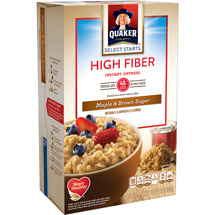 Quaker High Fiber Maple And Brown Sugar Instant Oatmeal