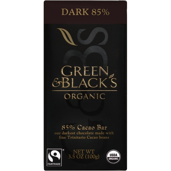 Green & Black's Chocolate Organic 85% Cacao Dark Chocolate Bar