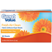 Great Value Orange Softener Sheets