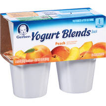 Gerber Yogurt & Fruit Blends Yogurt & Fruit Blends Peach 14 Oz (4-3.5 Oz) Yogurt