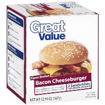 Great Value Flame-Broiled Bacon Cheeseburgers