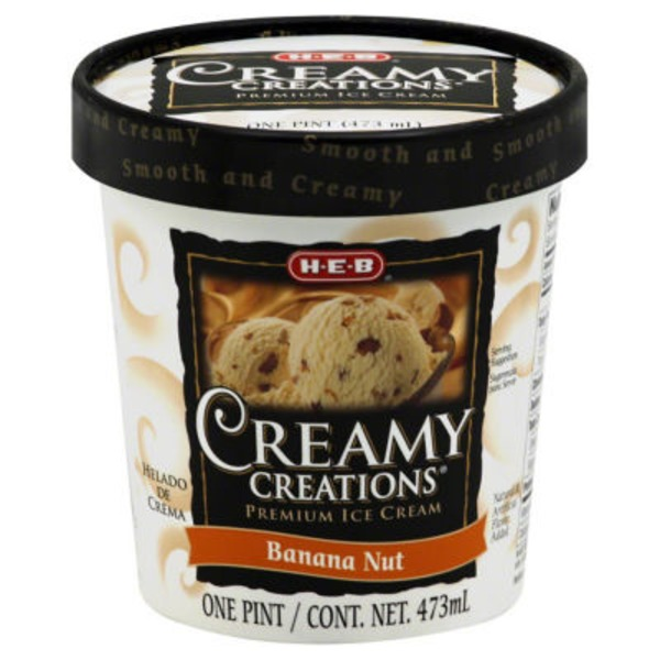 H-E-B Creamy Creations Bananna Nut Ice Cream