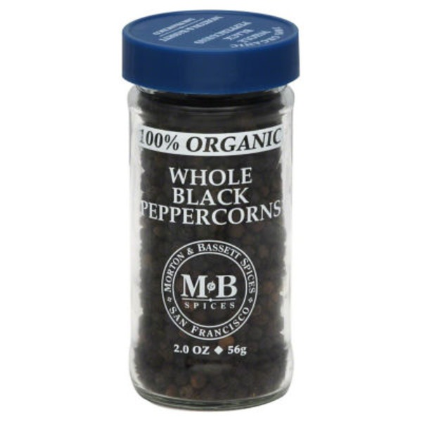 Morton & Bassett Spices Peppercorns, 100% Organic, Black, Whole