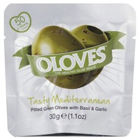 Oloves Tasty Mediterranean Pitted Green with Basil & Garlic
