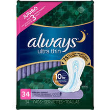 Always Always Ultra Thin pads Extra Heavy Overnight with Flexi-Wings unscented