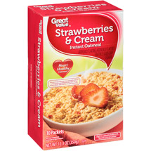 Great Value Strawberry & Cream Instant Oatmeal