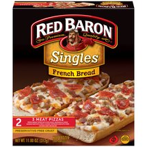Red Baron Singles French Bread 3 Meat Pizzas
