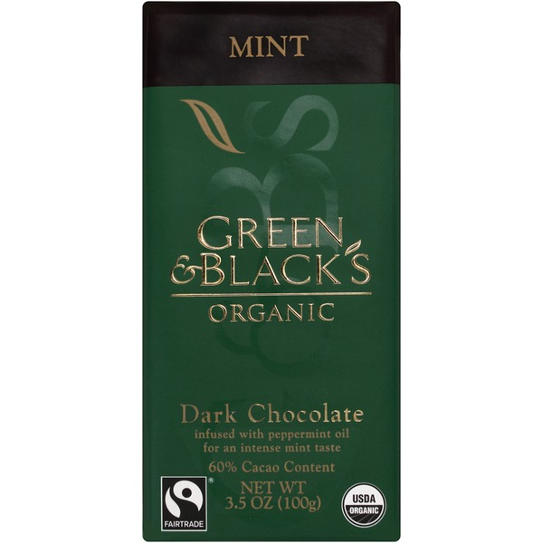 Green & Black's Chocolate Organic Dark Mint Chocolate Bar With 60% Cacao
