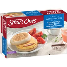 Weight Watchers Smart Ones English Muffin Sandwich Canadian Style Bacon w/Egg Whites & Cheese 2 ct Morning Express