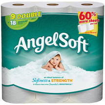 Angel Soft Toilet Paper 9 Double Rolls Bath Tissue