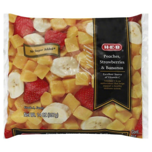 H-E-B Frozen Peaches, Strawberries & Bananas