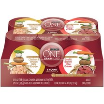 Purina ONE SmartBlend Classic Ground Entree Variety Pack Adult Dog Food 6-13 oz. Cans