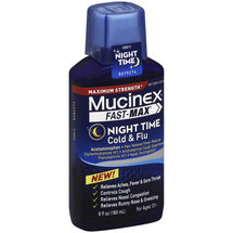 Mucinex Fast-Max Maximum Strength Night Time Cold & Flu Relief Liquid