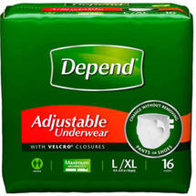 Depend Adjustable Underwear Maximum Absorbency Large/Extra Large 16 Count