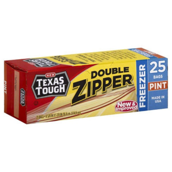 H-E-B Tough & Easy Pint Size Double Zipper Freezer Bags