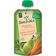 Beech-Nut Veggies On-the-Go Carrot Broccoli & Pear Blend Stage 2 Baby Food