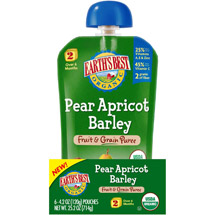 Earth's Best Organic Pear Apricot Barley Fruit & Grain Puree Stage 2 Baby Food