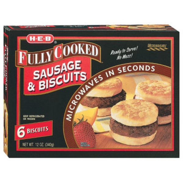 H-E-B 6 Fully Cooked Jumbo Sausage And Biscuits